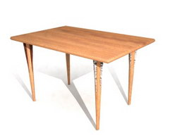 Rectangle Wooden Restaurant Table 3d preview