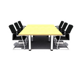 Conference desk and chairs 3d model preview