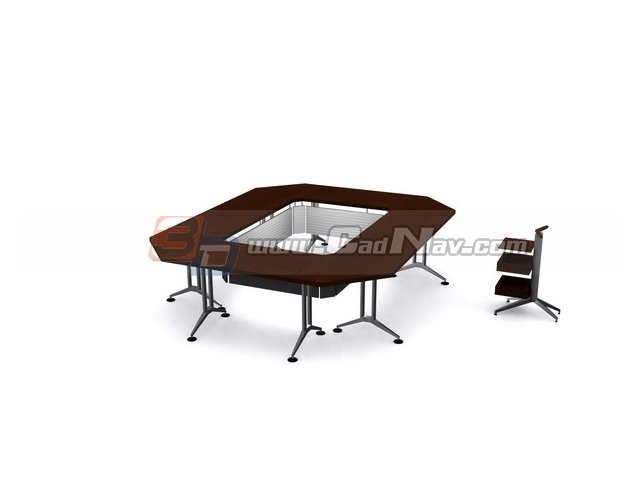 Office meeting desk and chair 3d rendering