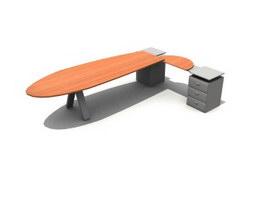 L Shape Office Desk and Filing cabinet 3d model preview