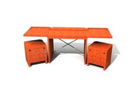 Office platform desk and Filing cabinet 3d model preview