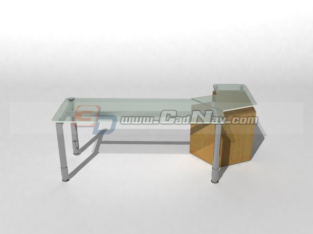 Glass top steel frame office desk 3d rendering