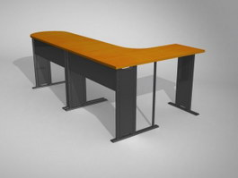 Steel frame L shape office table 3d model preview