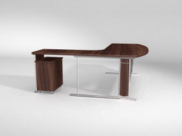 Work station office table 3d model preview