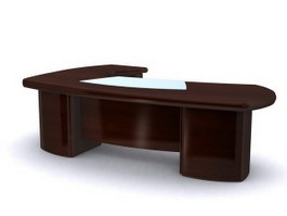 Solid wood boss table 3d preview