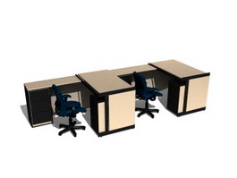 Office workstation layout 3d preview