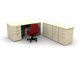 Staff Desk and Cabinet 3d model preview
