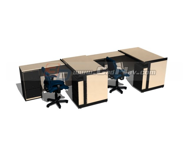 Office workstation layout 3d rendering