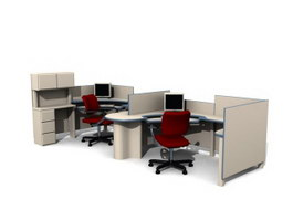 Office workstation and partition 3d model preview