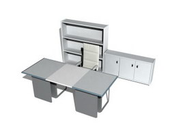 Office desk and wall unit 3d model preview