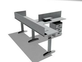 Office workstation unit 3d model preview