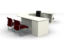 Office staff table 3d model preview