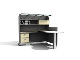 Office workstation with wall unit 3d preview
