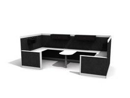 2 Seats Office Workstation Partition 3d model preview