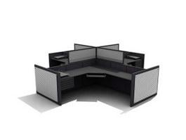 4 person staff workstation Partition 3d model preview