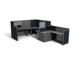 Office workstation Partition unit 3d model preview