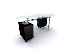 Glass top office workstation 3d model preview