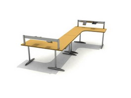 Office Workstation bench 3d model preview