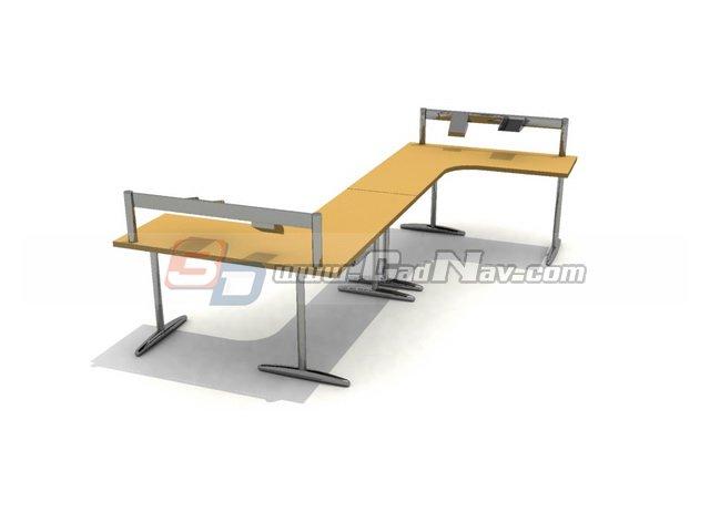 Office Workstation bench 3d rendering