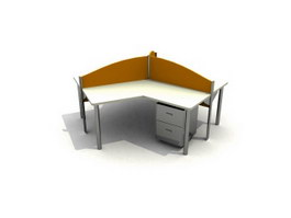 Three seating staff workstation 3d model preview