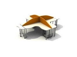 4 seating office workstation 3d model preview