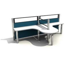 2 seats workstation partition 3d model preview