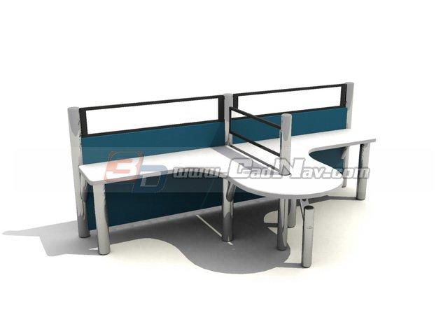 2 seats workstation partition 3d rendering