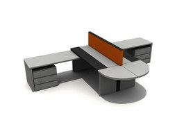 2 seats staff workstation 3d model preview