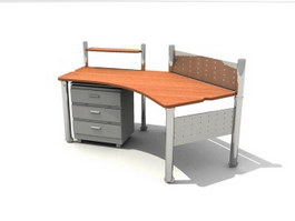 Staff Desk with Filing Cabinet 3d preview