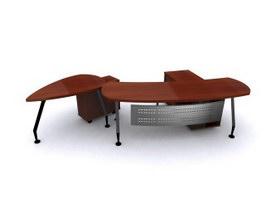 Office Workstation Wooden Desk 3d model preview