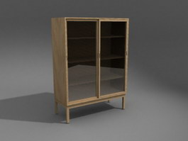 Filing Cabinet with Sliding Glass Door 3d preview