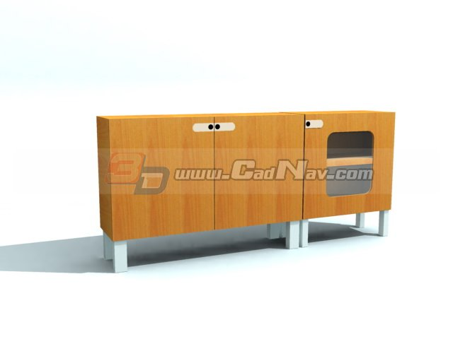 Combination Filing Cabinet 3d rendering