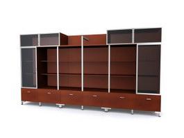 Office filing cabinet storage shelf 3d model preview