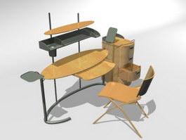 Wooden Computer Desk 3d model preview