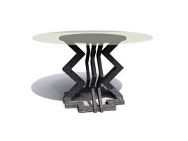 Antique Glass top tea table table 3d preview