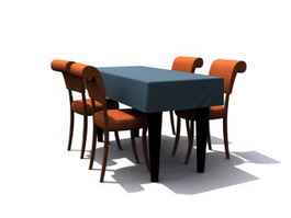 4 Seats Dining Room Sets 3d model preview