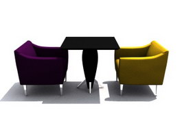 Coffee Shop Armchair and Table 3d preview
