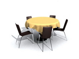 Restaurant Sets Banquet table and chairs 3d preview