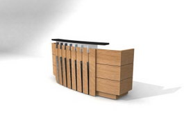 Cashier wood counter 3d preview