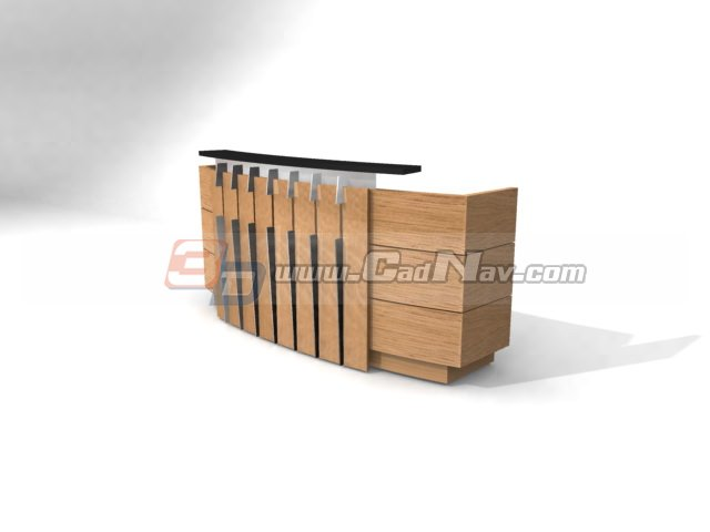 Cashier wood counter 3d rendering