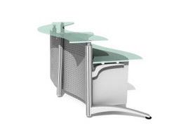 Modern office reception desk 3d model preview
