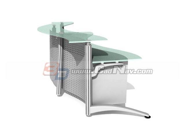 Modern office reception desk 3d rendering
