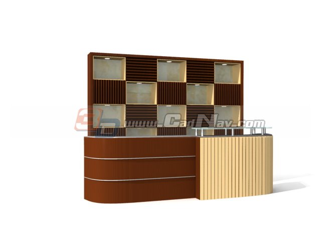 Supermarket reception desk 3d rendering