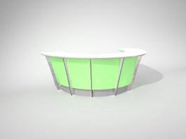 Half round reception desk 3d model preview