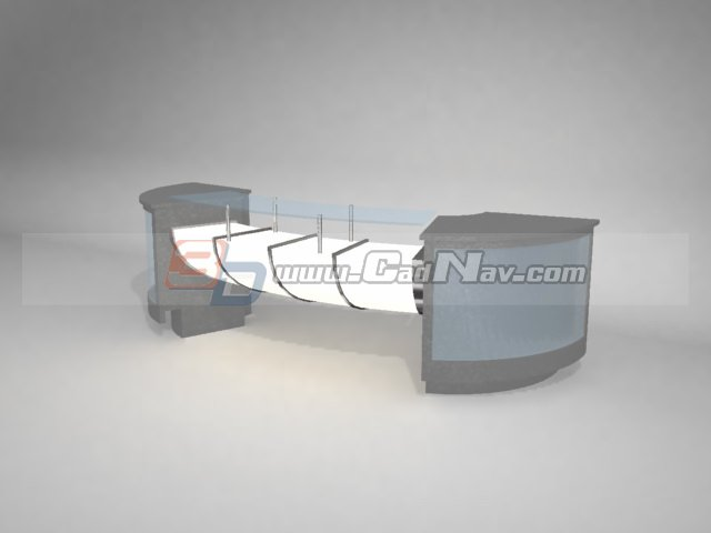 Bar counter 3d rendering