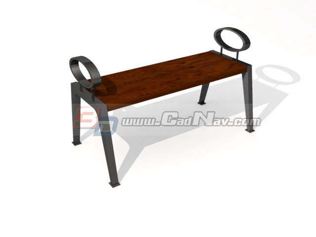 Wooden Park bench 3d rendering