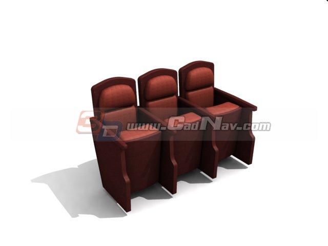 Fixed auditorium seating 3d rendering