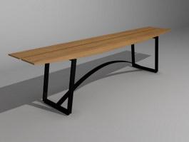 Patio Bench Public Waiting Chair 3d model preview