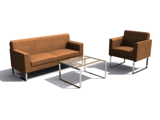 Office visit room waiting sofa sets 3d model preview