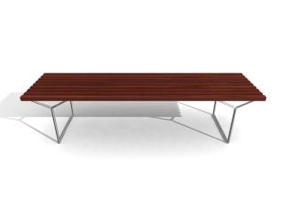 Wooden garden bench 3d model preview